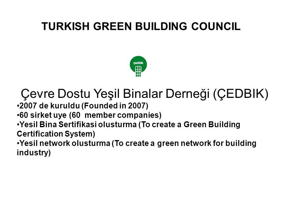 TURKISH GREEN BUILDING COUNCIL Çevre Dostu Yeşil Binalar Derneği (ÇEDBIK) 2007 de kuruldu (Founded in 2007) 60 sirket uye (60 member companies) Yesil Bina Sertifikasi olusturma (To create a Green Building Certification System) Yesil network olusturma (To create a green network for building industry)