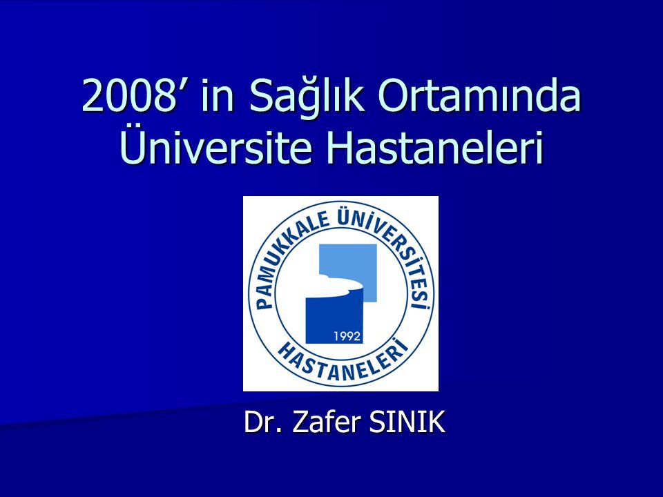2008' in Sağlık Ortamında Üniversite Hastaneleri Dr. Zafer SINIK