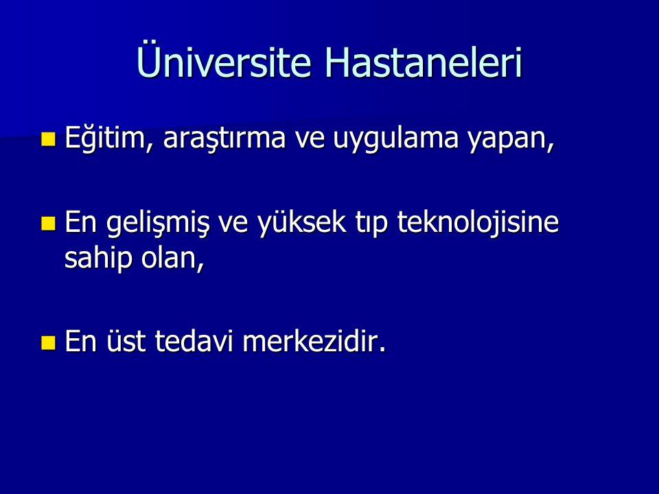Üniversite Hastaneleri Eğitim, araştırma ve uygulama yapan, Eğitim, araştırma ve uygulama yapan, En gelişmiş ve yüksek tıp teknolojisine sahip olan, E