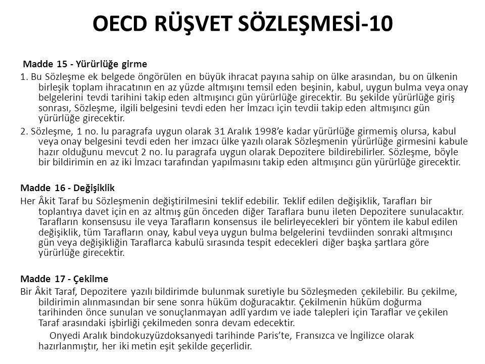 OECD RÜŞVET SÖZLEŞMESİ-10 Madde 15 - Yürürlüğe girme 1.