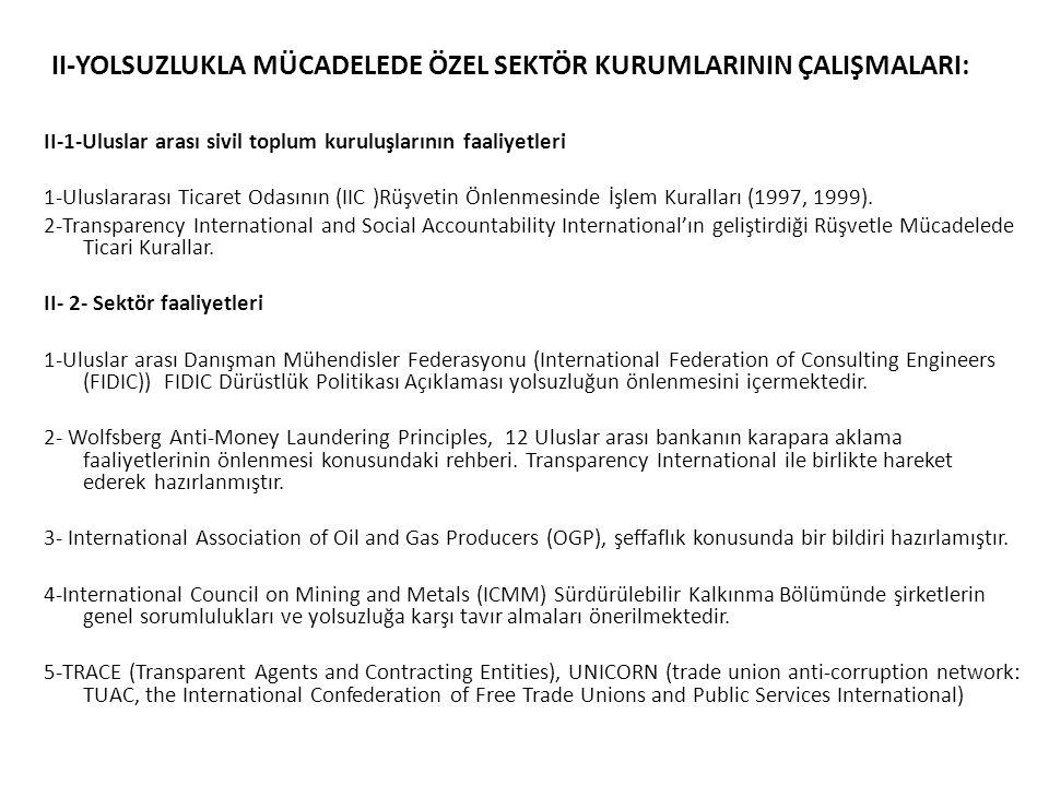 II-YOLSUZLUKLA MÜCADELEDE ÖZEL SEKTÖR KURUMLARININ ÇALIŞMALARI: II-1-Uluslar arası sivil toplum kuruluşlarının faaliyetleri 1-Uluslararası Ticaret Odasının (IIC )Rüşvetin Önlenmesinde İşlem Kuralları (1997, 1999).
