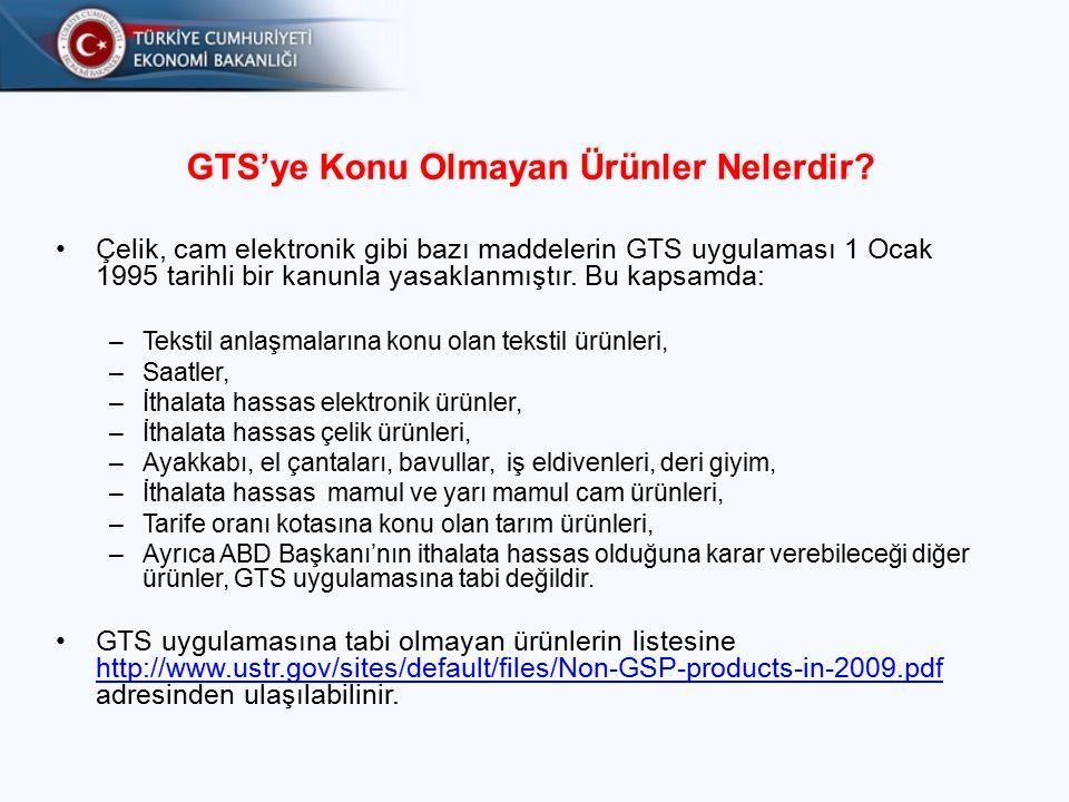 GTS'ye Konu Olmayan Ürünler Nelerdir.