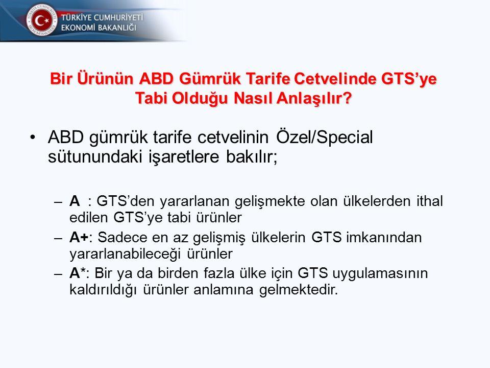 Bir Ürünün ABD Gümrük Tarife Cetvelinde GTS'ye Tabi Olduğu Nasıl Anlaşılır.