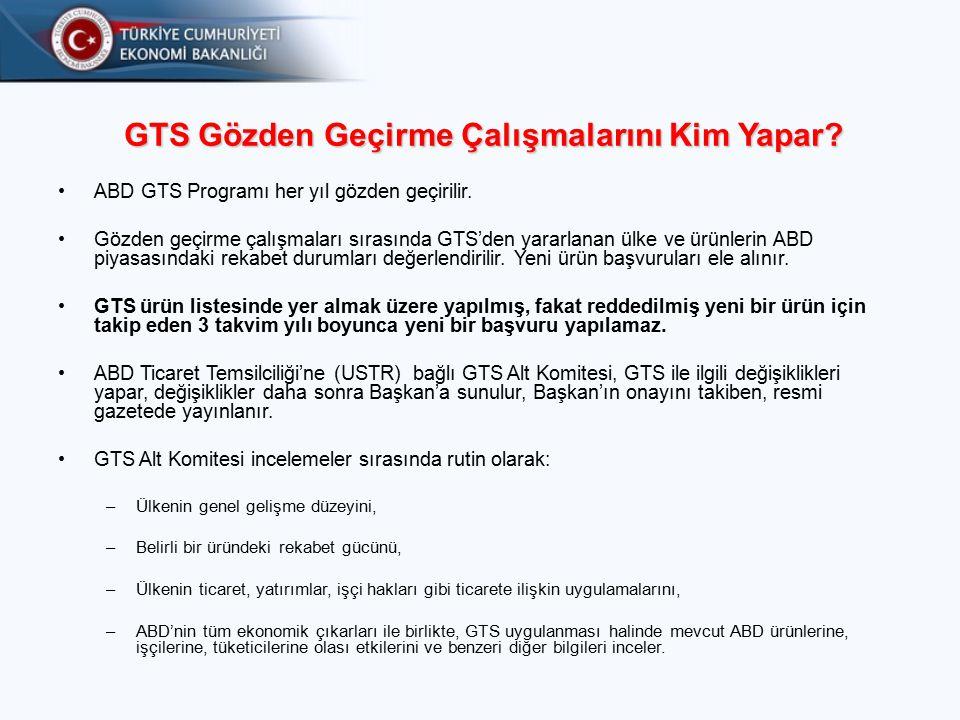 GTS Gözden Geçirme Çalışmalarını Kim Yapar.ABD GTS Programı her yıl gözden geçirilir.
