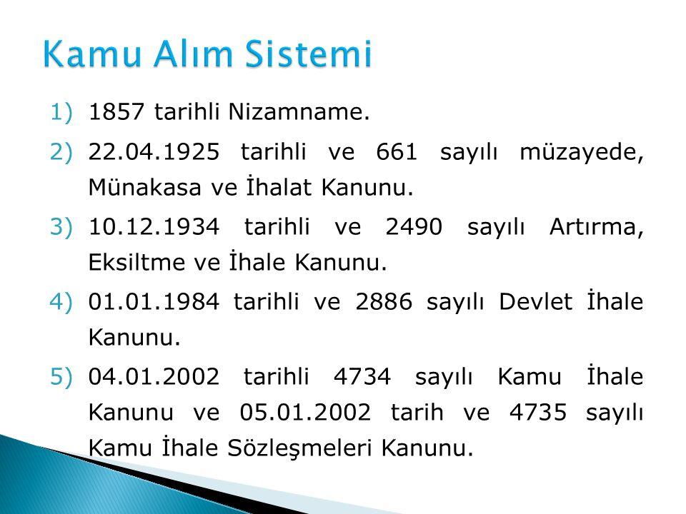 1)1857 tarihli Nizamname. 2)22.04.1925 tarihli ve 661 sayılı müzayede, Münakasa ve İhalat Kanunu. 3)10.12.1934 tarihli ve 2490 sayılı Artırma, Eksiltm