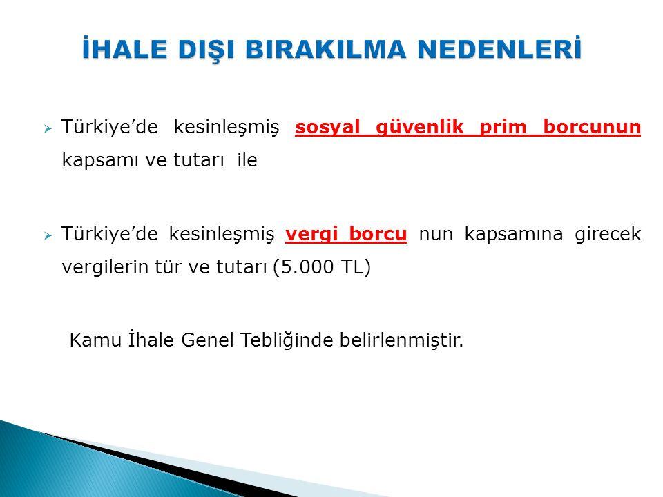  Türkiye'de kesinleşmiş sosyal güvenlik prim borcunun kapsamı ve tutarı ile  Türkiye'de kesinleşmiş vergi borcu nun kapsamına girecek vergilerin tür