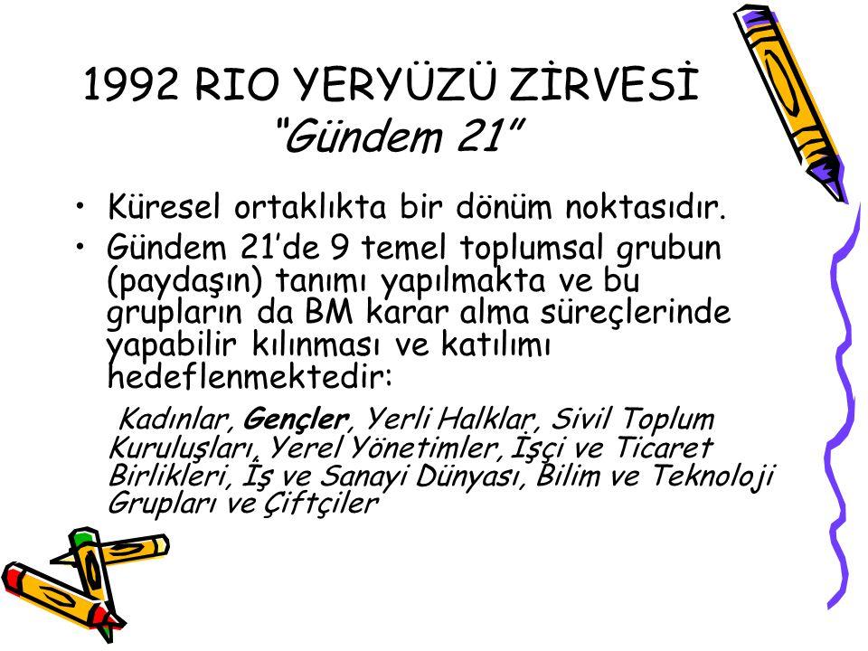 1992 RIO YERYÜZÜ ZİRVESİ Gündem 21 Küresel ortaklıkta bir dönüm noktasıdır.