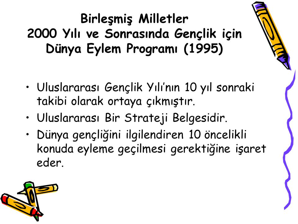 Birleşmiş Milletler 2000 Yılı ve Sonrasında Gençlik için Dünya Eylem Programı (1995) Uluslararası Gençlik Yılı'nın 10 yıl sonraki takibi olarak ortaya çıkmıştır.
