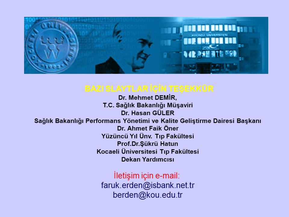 BAZI SLAYTLAR İÇİN TEŞEKKÜR Dr. Mehmet DEMİR, T.C.