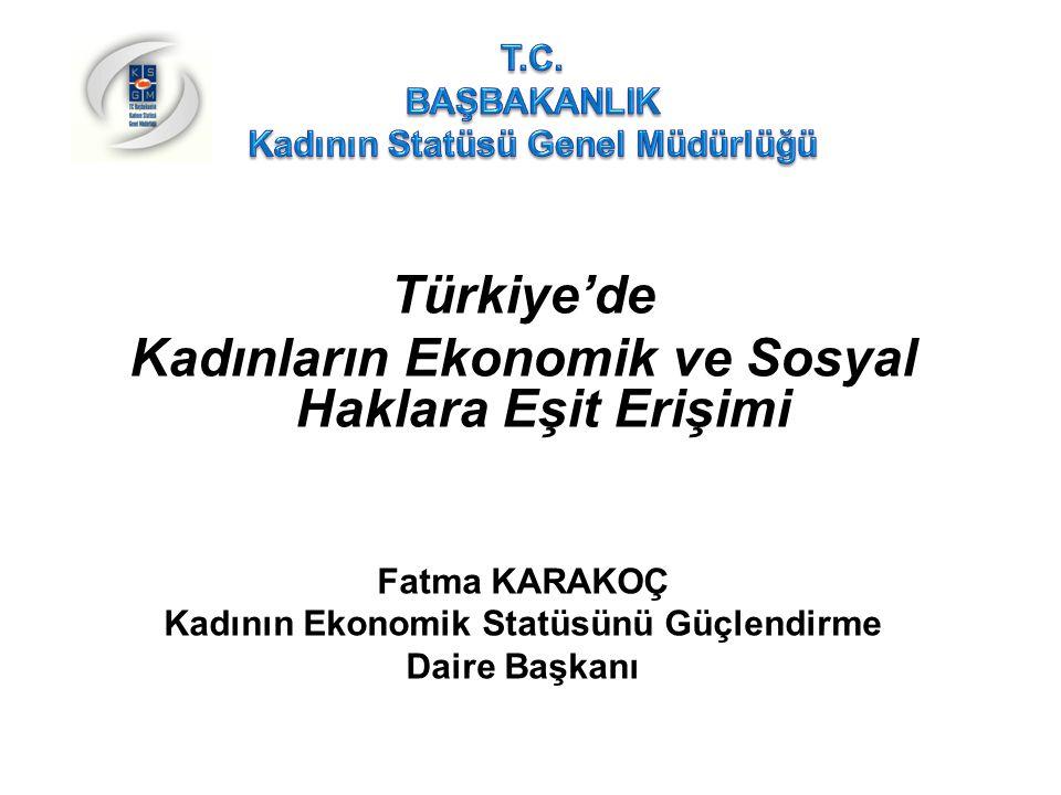 Türkiye'de Kadının Durumu İstihdam  Kadınların işgücüne ve istihdama katılımları düşük olup, yıllar itibariyle de azalmaktadır.