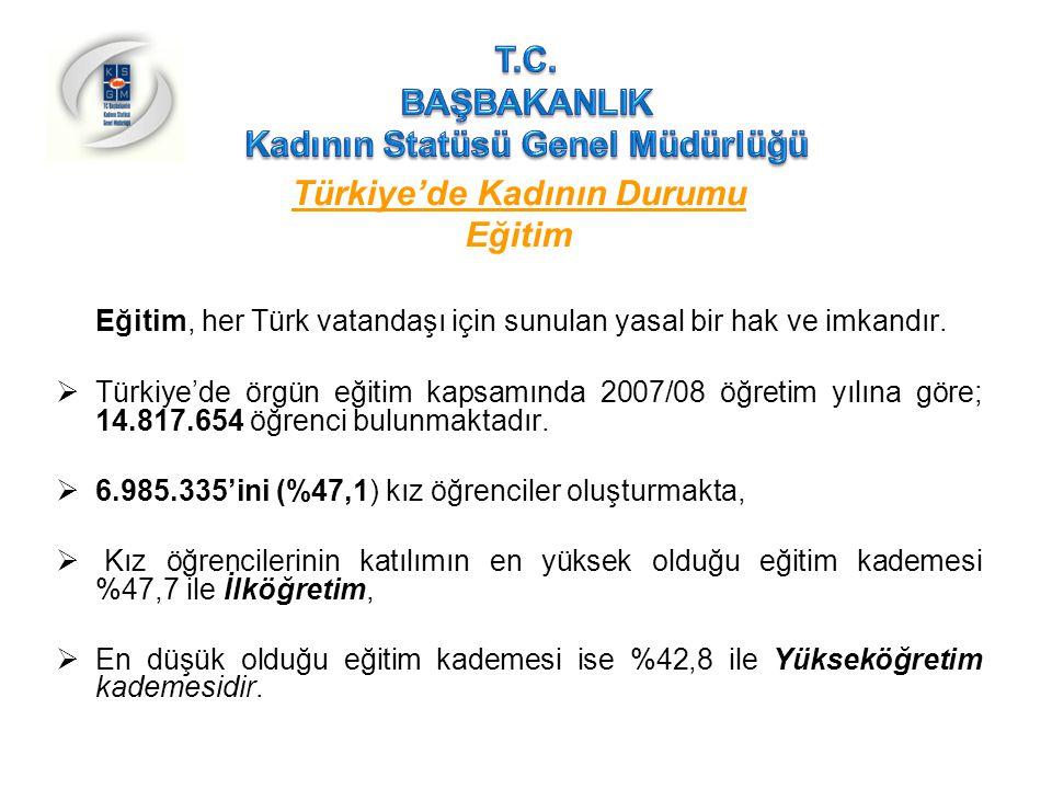 Türkiye'de Kadının Durumu Eğitim(devam)  Yetişkinler arasındaki okuryazarlık oranı, 2006 yılında % 88,1'dir.