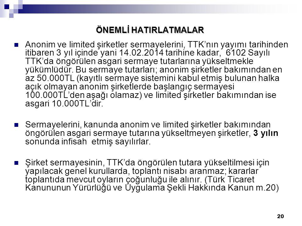 20 ÖNEMLİ HATIRLATMALAR Anonim ve limited şirketler sermayelerini, TTK'nın yayımı tarihinden itibaren 3 yıl içinde yani 14.02.2014 tarihine kadar, 610