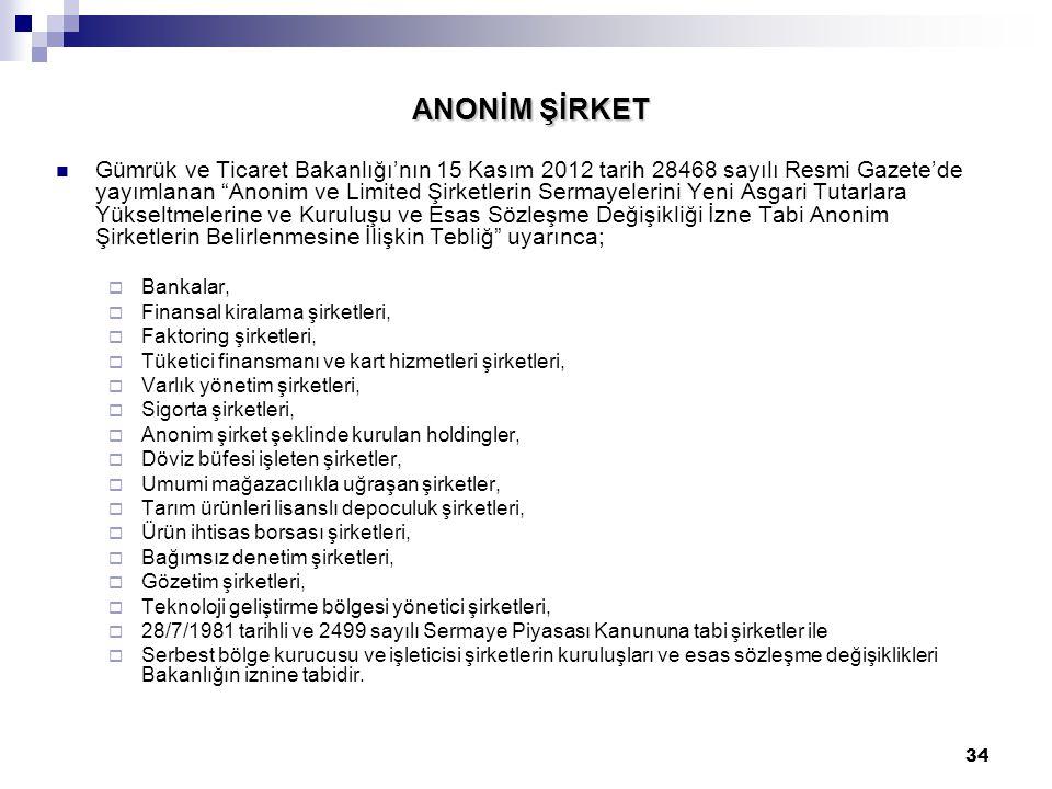 """34 ANONİM ŞİRKET Gümrük ve Ticaret Bakanlığı'nın 15 Kasım 2012 tarih 28468 sayılı Resmi Gazete'de yayımlanan """"Anonim ve Limited Şirketlerin Sermayeler"""