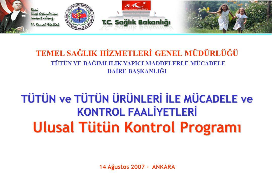 Ulusal Tütün Kontrol Programı GEREKÇE Tütün Kontrolü Çerçeve Sözleşmesi TKÇS 21 Mayıs 2003 tarihinde Dünya Sağlık Örgütü'nün 56.