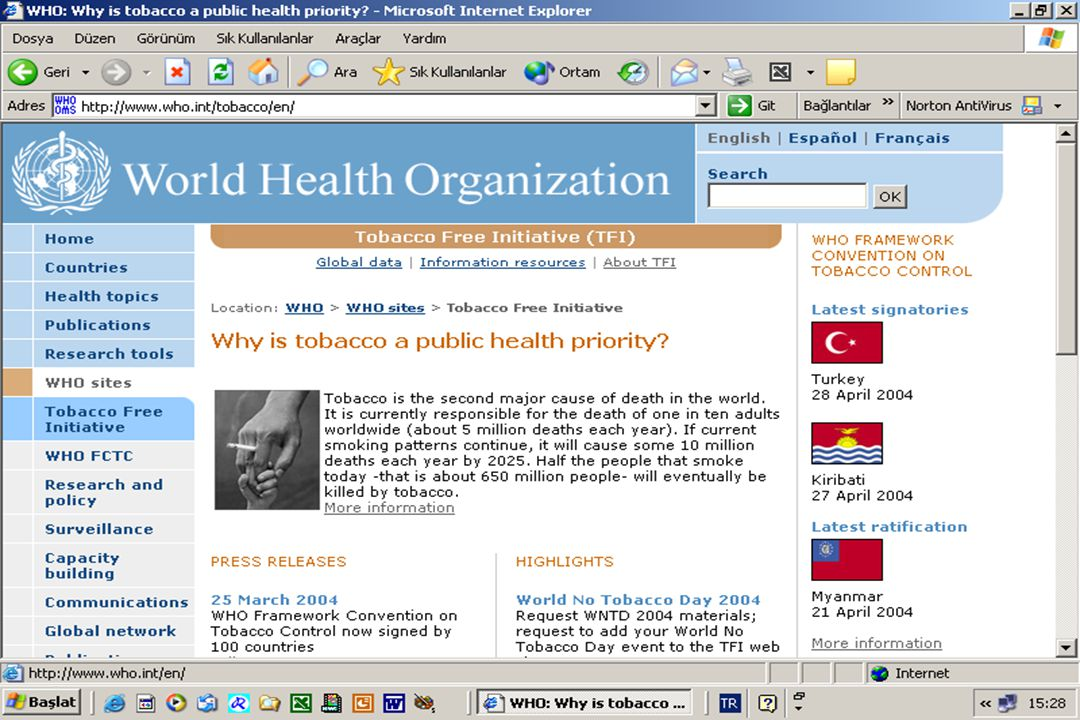 Proje adı: Türkiye'de sigara içilmeyen kamu alanı ve işyerlerinin genişletilmesi: Sigara karşıtı politikaların etkin uygulanması.