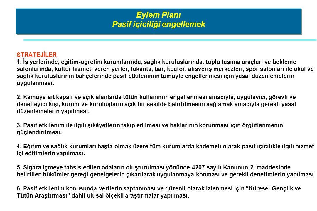 Eylem Planı Pasif içiciliği engellemek STRATEJİLER 1. İş yerlerinde, eğitim-öğretim kurumlarında, sağlık kuruluşlarında, toplu taşıma araçları ve bekl