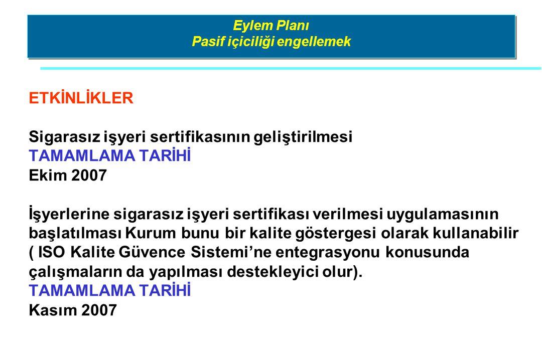 Eylem Planı Pasif içiciliği engellemek ETKİNLİKLER Sigarasız işyeri sertifikasının geliştirilmesi TAMAMLAMA TARİHİ Ekim 2007 İşyerlerine sigarasız işy