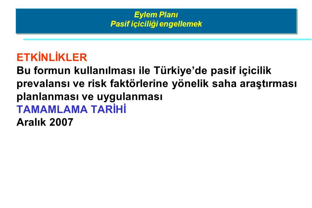 Eylem Planı Pasif içiciliği engellemek ETKİNLİKLER Bu formun kullanılması ile Türkiye'de pasif içicilik prevalansı ve risk faktörlerine yönelik saha a