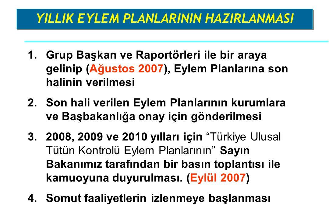 1.Grup Başkan ve Raportörleri ile bir araya gelinip (Ağustos 2007), Eylem Planlarına son halinin verilmesi 2.Son hali verilen Eylem Planlarının kuruml