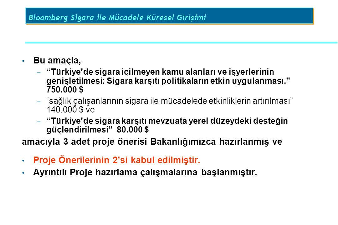 """Bu amaçla, – """"Türkiye'de sigara içilmeyen kamu alanları ve işyerlerinin genişletilmesi: Sigara karşıtı politikaların etkin uygulanması."""" 750.000 $ – """""""