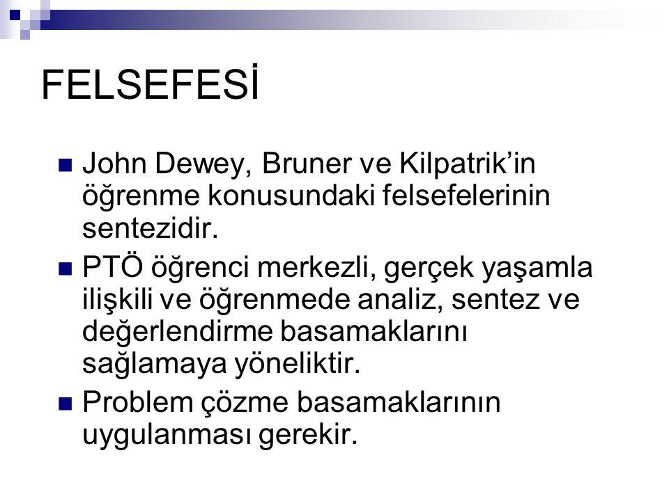 FELSEFESİ John Dewey, Bruner ve Kilpatrik'in öğrenme konusundaki felsefelerinin sentezidir. PTÖ öğrenci merkezli, gerçek yaşamla ilişkili ve öğrenmede