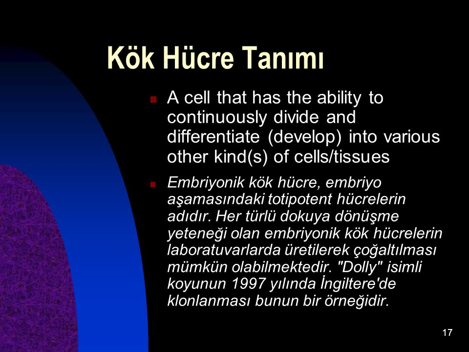 17 Kök Hücre Tanımı A cell that has the ability to continuously divide and differentiate (develop) into various other kind(s) of cells/tissues Embriyo