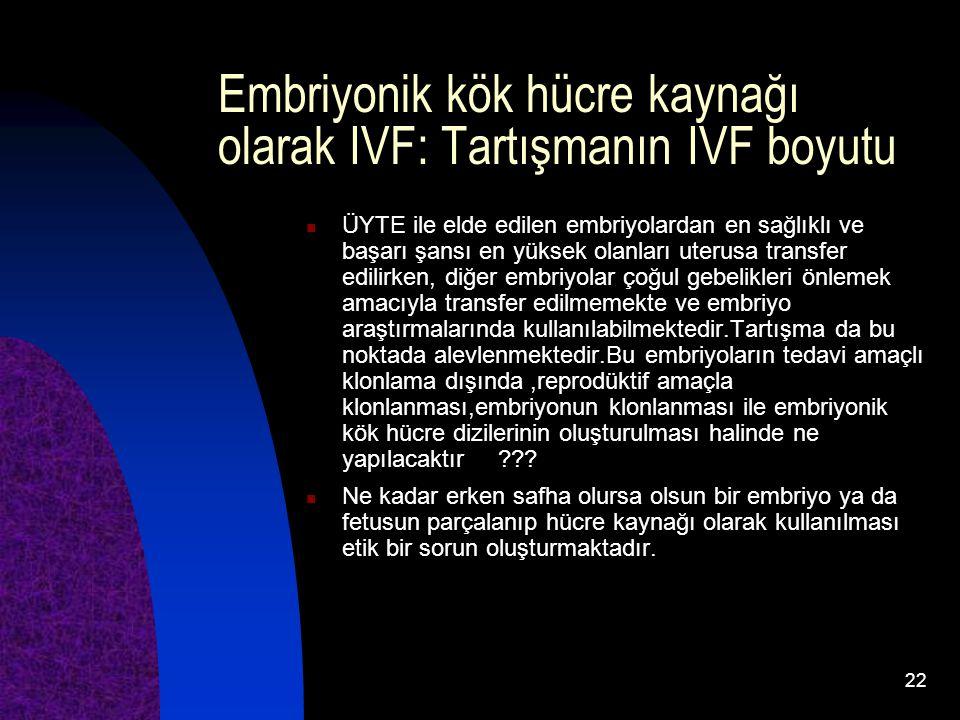 22 Embriyonik kök hücre kaynağı olarak IVF: Tartışmanın IVF boyutu ÜYTE ile elde edilen embriyolardan en sağlıklı ve başarı şansı en yüksek olanları u