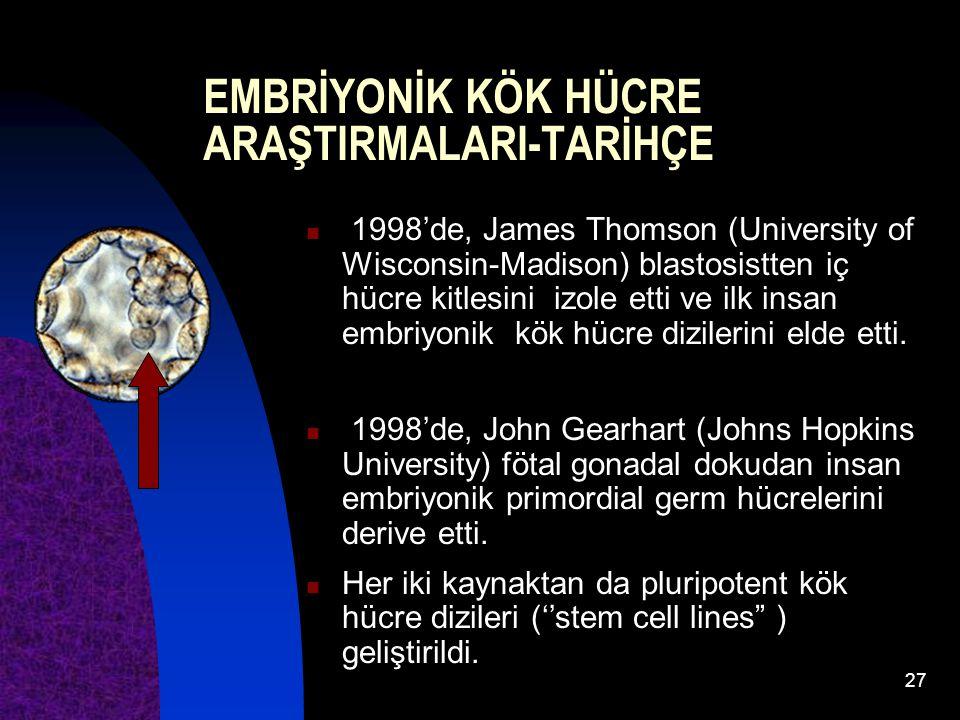 27 1998'de, James Thomson (University of Wisconsin-Madison) blastosistten iç hücre kitlesini izole etti ve ilk insan embriyonik kök hücre dizilerini e