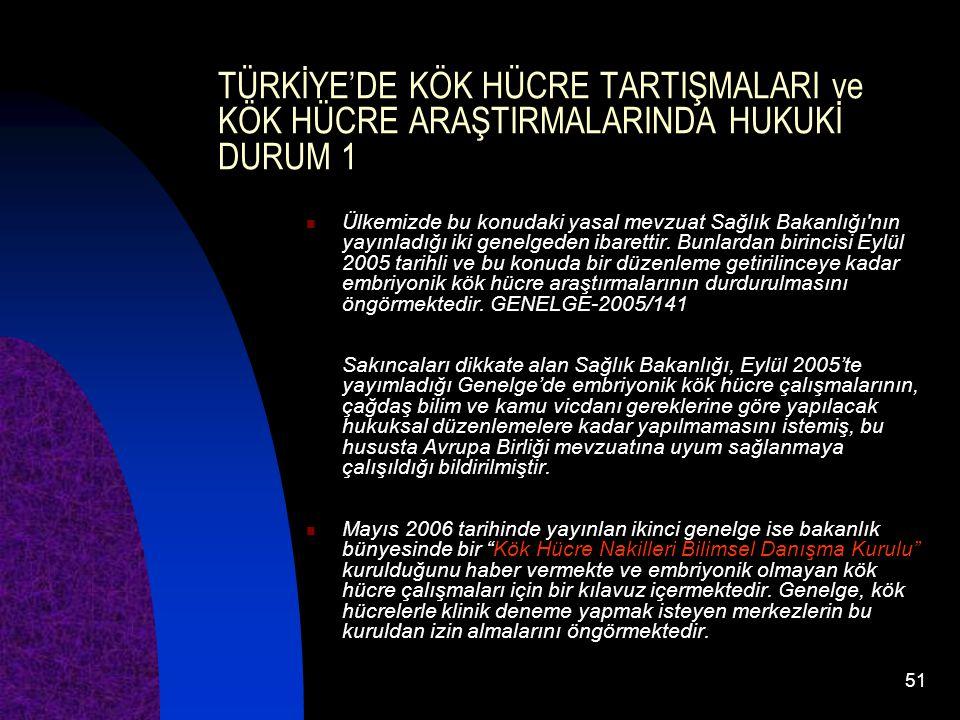 51 TÜRKİYE'DE KÖK HÜCRE TARTIŞMALARI ve KÖK HÜCRE ARAŞTIRMALARINDA HUKUKİ DURUM 1 Ülkemizde bu konudaki yasal mevzuat Sağlık Bakanlığı'nın yayınladığı