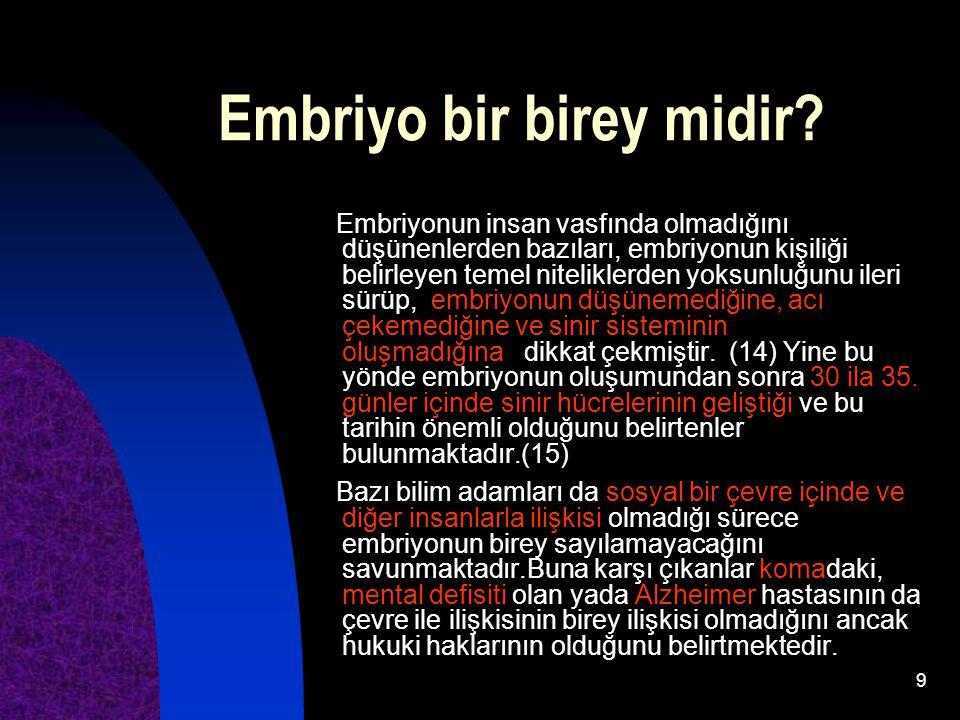 9 Embriyo bir birey midir? Embriyonun insan vasfında olmadığını düşünenlerden bazıları, embriyonun kişiliği belirleyen temel niteliklerden yoksunluğun