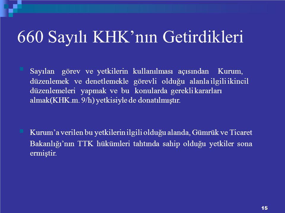 660 Sayılı KHK'nın Getirdikleri Sayılan görev ve yetkilerin kullanılması açısından Kurum, düzenlemek ve denetlemekle görevli olduğu alanla ilgili ikincil düzenlemeleri yapmak ve bu konularda gerekli kararları almak(KHK.m.