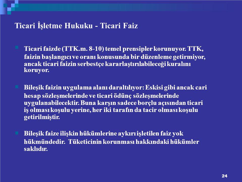 Ticari İşletme Hukuku - Ticari Faiz Ticari faizde (TTK.m.
