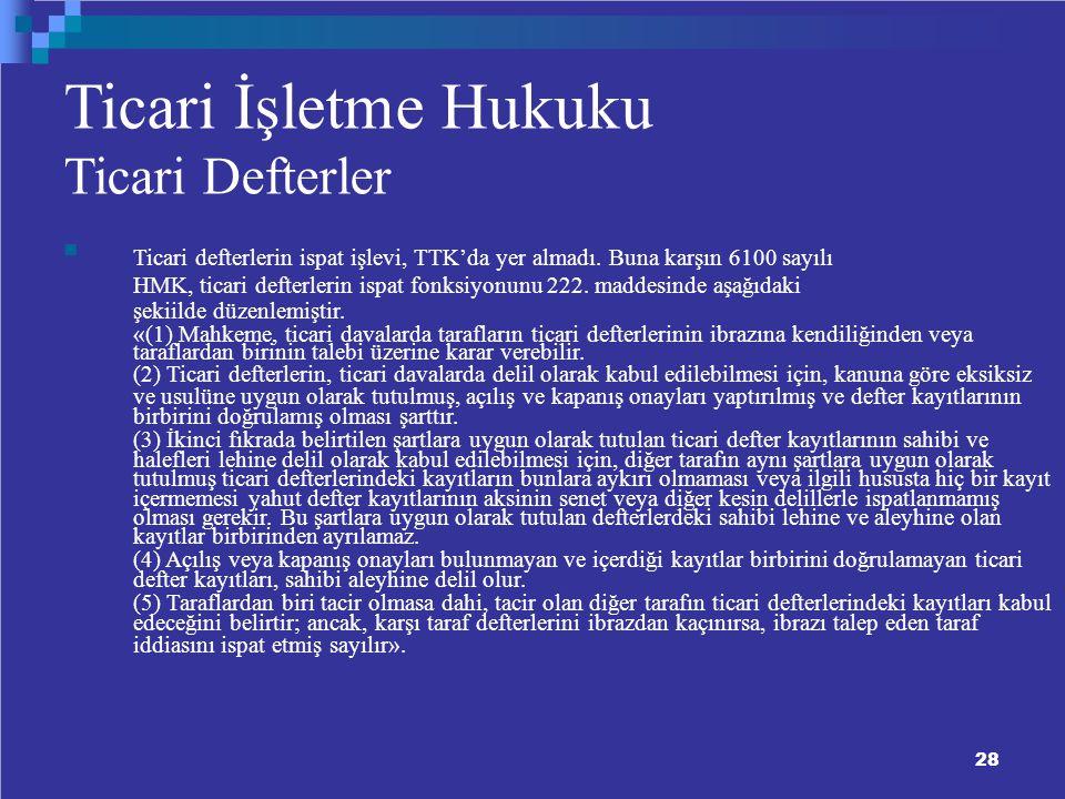 Ticari İşletme Hukuku Ticari Defterler Ticari defterlerin ispat işlevi, TTK'da yer almadı.