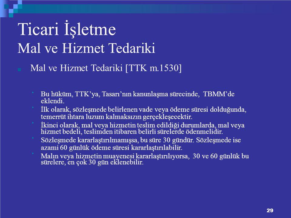 Ticari İşletme Mal ve Hizmet Tedariki Mal ve Hizmet Tedariki  TTK m.1530  Bu hüküm, TTK'ya, Tasarı'nın kanunlaşma sürecinde, TBMM'de eklendi.