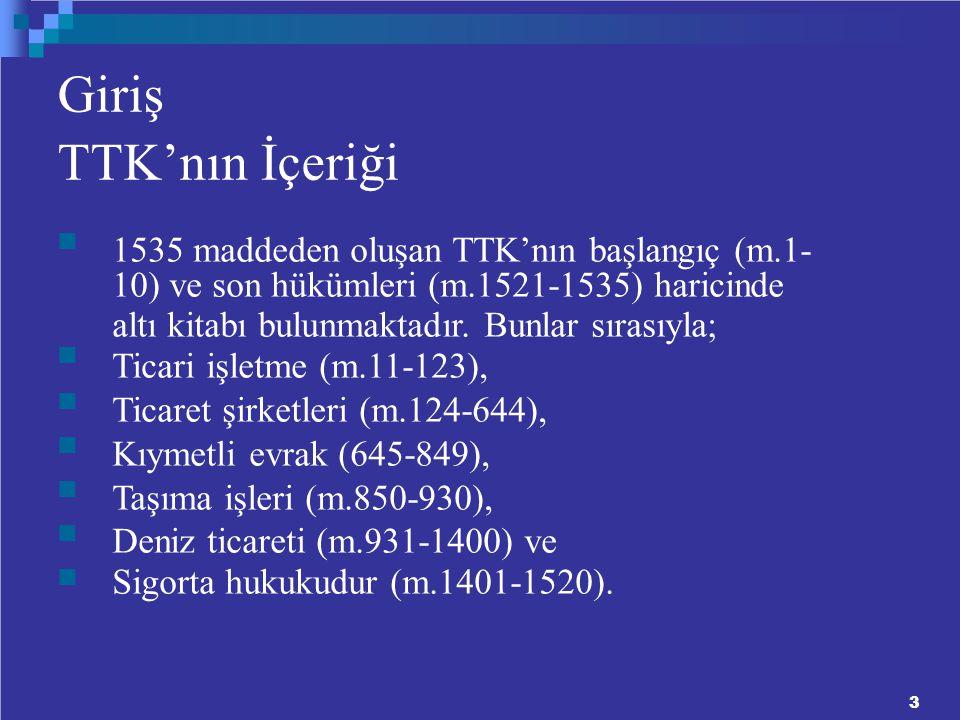 Giriş TTK'nın İçeriği 1535 maddeden oluşan TTK'nın başlangıç (m.1- 10) ve son hükümleri (m.1521-1535) haricinde altı kitabı bulunmaktadır.