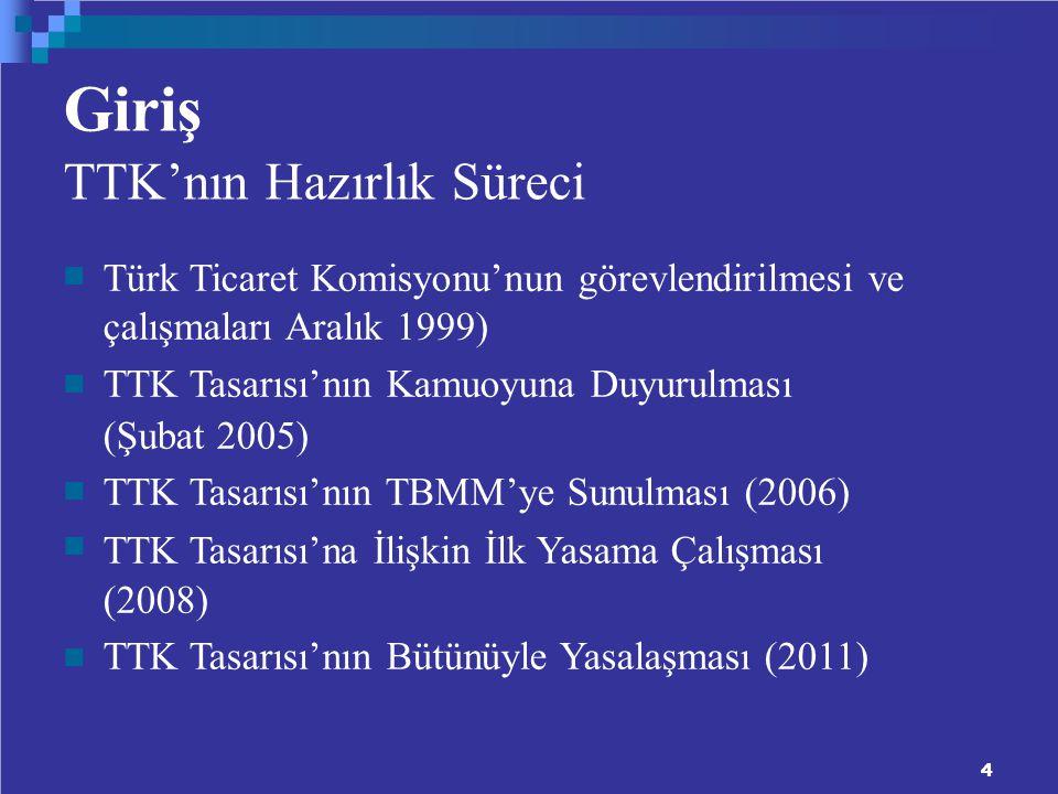 Giriş TTK'nın Hazırlık Süreci Türk Ticaret Komisyonu'nun görevlendirilmesi ve çalışmaları Aralık 1999) TTK Tasarısı'nın Kamuoyuna Duyurulması (Şubat 2005) TTK Tasarısı'nın TBMM'ye Sunulması (2006) TTK Tasarısı'na İlişkin İlk Yasama Çalışması (2008) TTK Tasarısı'nın Bütünüyle Yasalaşması (2011) 4
