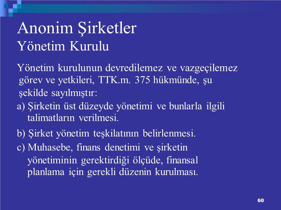 60 Anonim Şirketler Yönetim Kurulu Yönetim kurulunun devredilemez ve vazgeçilemez görev ve yetkileri, TTK.m.