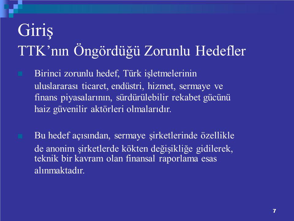 7 Giriş TTK'nın Öngördüğü Zorunlu Hedefler Birinci zorunlu hedef, Türk işletmelerinin uluslararası ticaret, endüstri, hizmet, sermaye ve finans piyasalarının, sürdürülebilir rekabet gücünü haiz güvenilir aktörleri olmalarıdır.