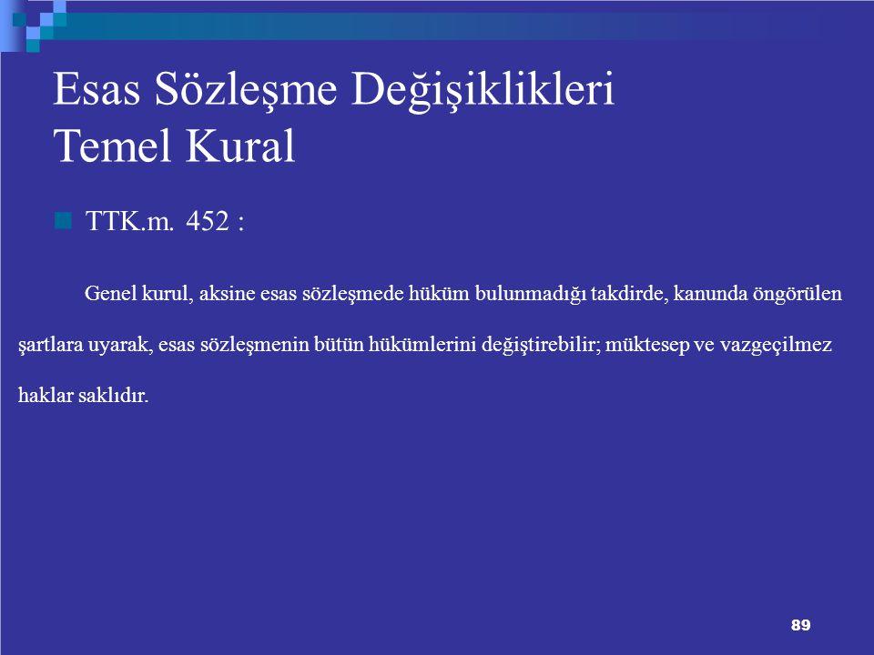 89 9 Esas Sözleşme Değişiklikleri Temel Kural TTK.m.