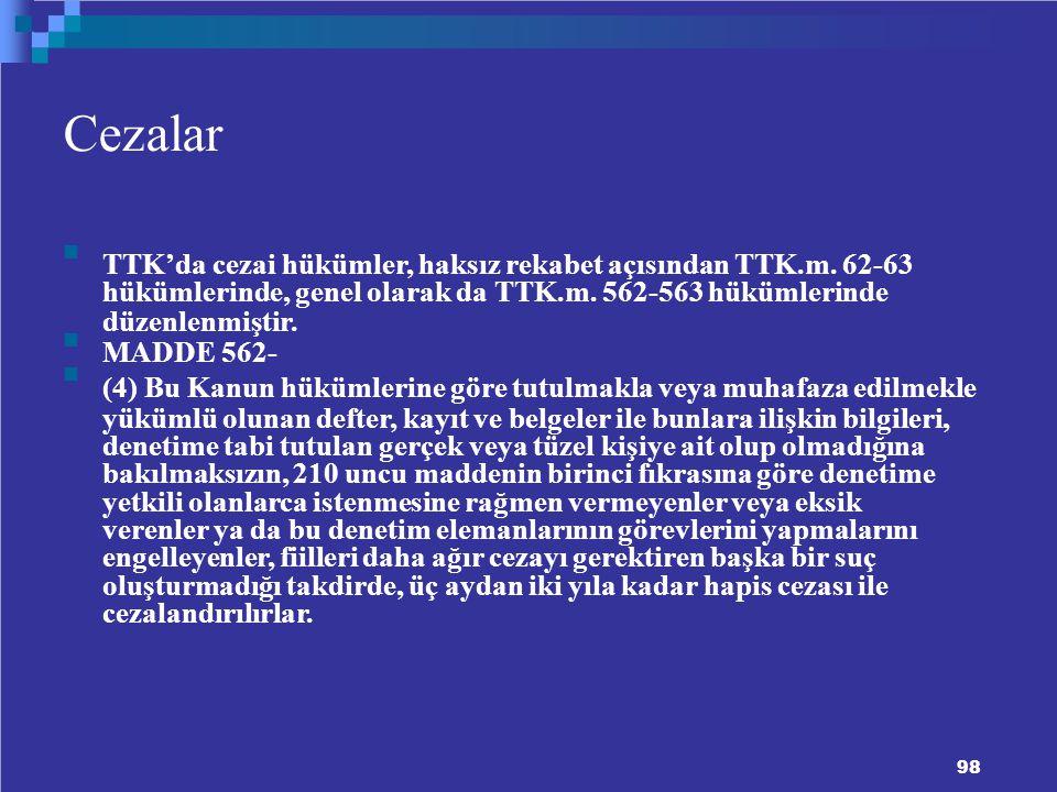 Cezalar TTK'da cezai hükümler, haksız rekabet açısından TTK.m.