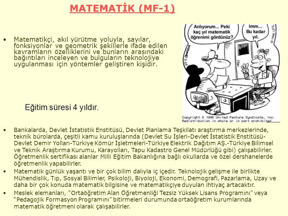 MATEMATİK (MF-1) Matematikçi, akıl yürütme yoluyla, sayılar, fonksiyonlar ve geometrik şekillerle ifade edilen kavramların özelliklerini ve bunların arasındaki bağıntıları inceleyen ve bulguların teknolojiye uygulanması için yöntemler geliştiren kişidir.
