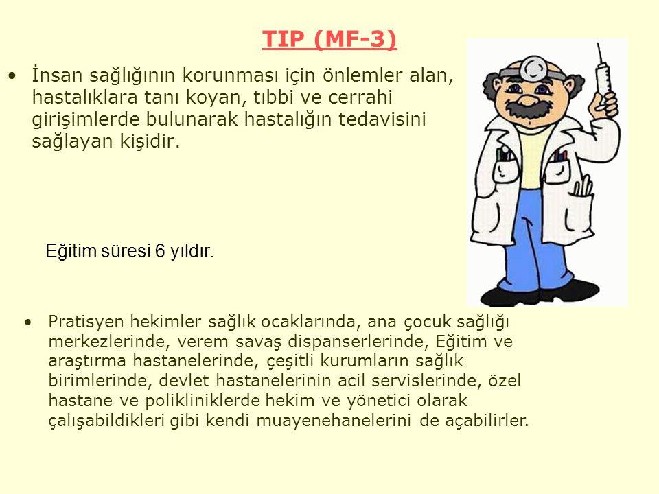 TIP (MF-3) İnsan sağlığının korunması için önlemler alan, hastalıklara tanı koyan, tıbbi ve cerrahi girişimlerde bulunarak hastalığın tedavisini sağlayan kişidir.