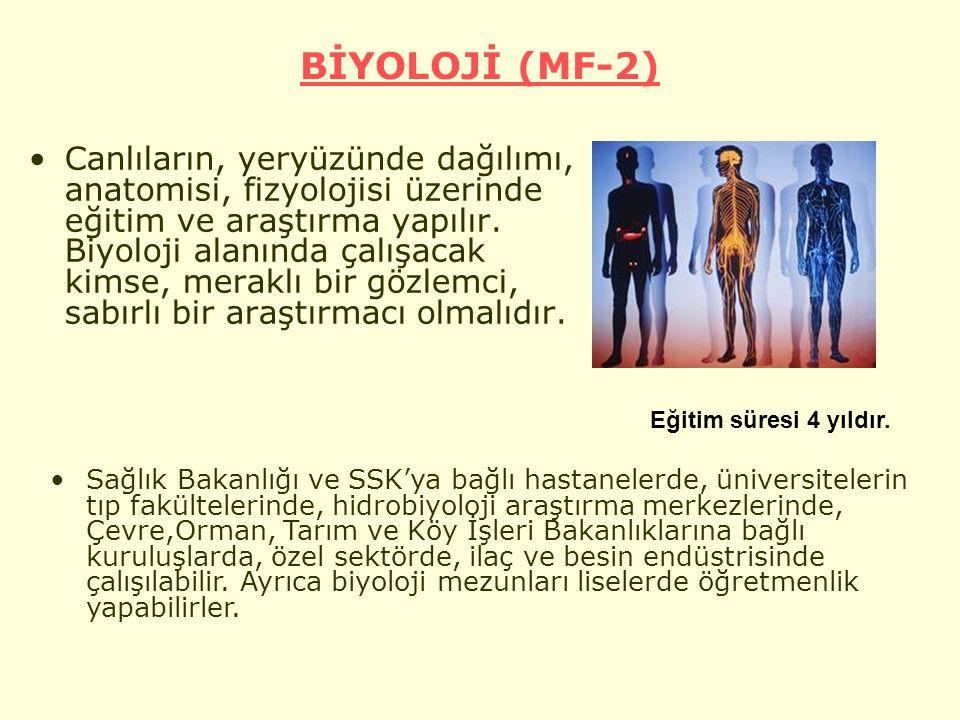 BİYOLOJİ (MF-2) Canlıların, yeryüzünde dağılımı, anatomisi, fizyolojisi üzerinde eğitim ve araştırma yapılır.