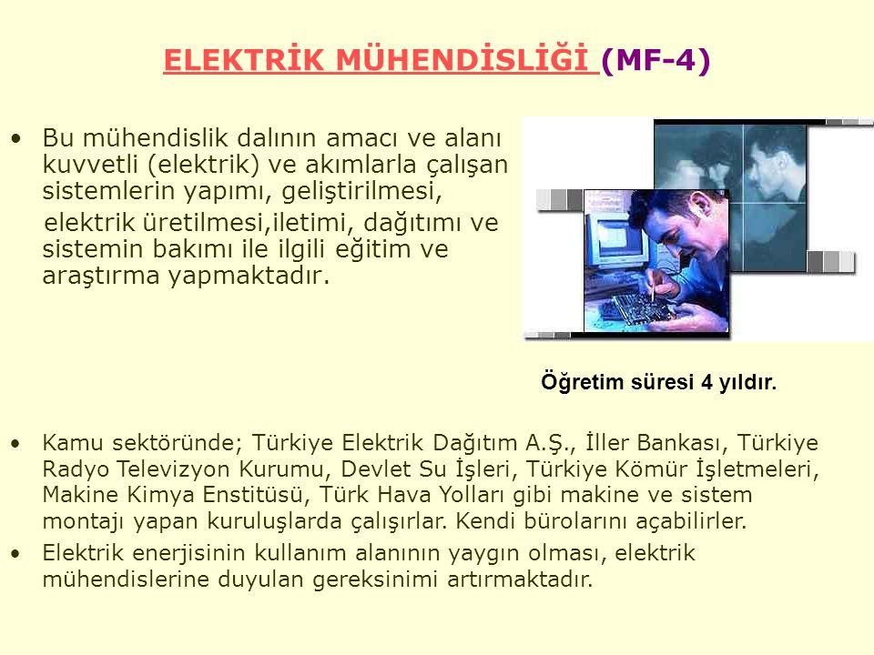 ELEKTRİK MÜHENDİSLİĞİ ELEKTRİK MÜHENDİSLİĞİ (MF-4) Bu mühendislik dalının amacı ve alanı kuvvetli (elektrik) ve akımlarla çalışan sistemlerin yapımı, geliştirilmesi, elektrik üretilmesi,iletimi, dağıtımı ve sistemin bakımı ile ilgili eğitim ve araştırma yapmaktadır.