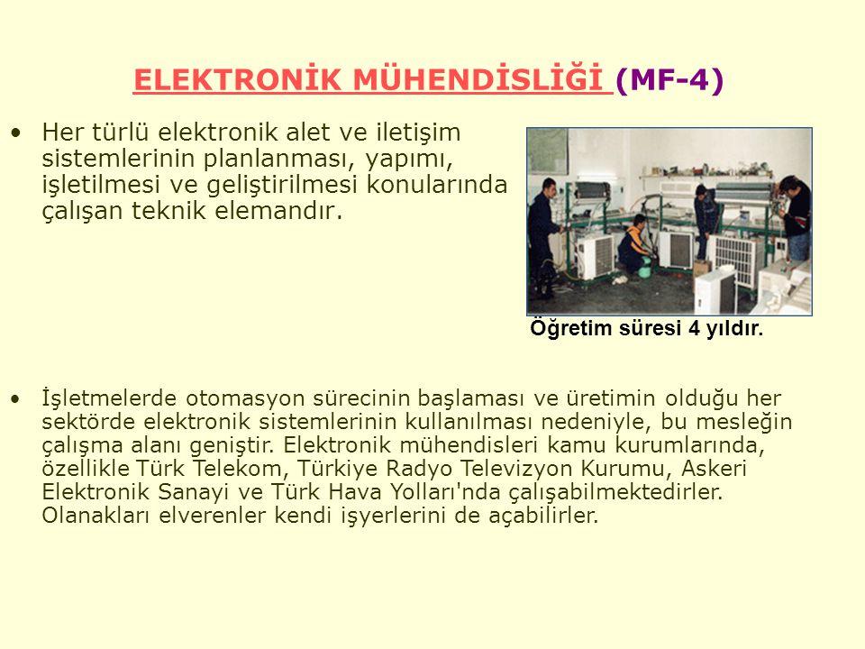 ELEKTRONİK MÜHENDİSLİĞİ ELEKTRONİK MÜHENDİSLİĞİ (MF-4) Her türlü elektronik alet ve iletişim sistemlerinin planlanması, yapımı, işletilmesi ve geliştirilmesi konularında çalışan teknik elemandır.