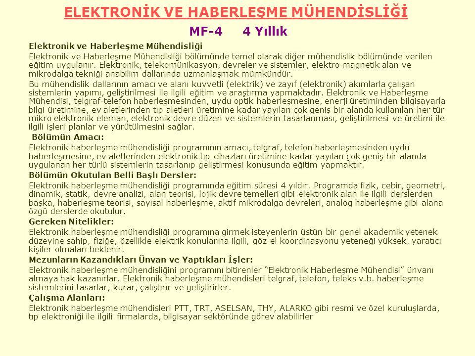 ELEKTRONİK VE HABERLEŞME MÜHENDİSLİĞİ ELEKTRONİK VE HABERLEŞME MÜHENDİSLİĞİ MF-4 4 Yıllık Elektronik ve Haberleşme Mühendisliği Elektronik ve Haberleşme Mühendisliği bölümünde temel olarak diğer mühendislik bölümünde verilen eğitim uygulanır.