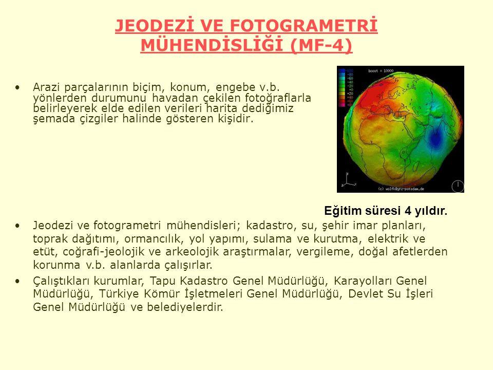 JEODEZİ VE FOTOGRAMETRİ MÜHENDİSLİĞİ (MF-4) Arazi parçalarının biçim, konum, engebe v.b.