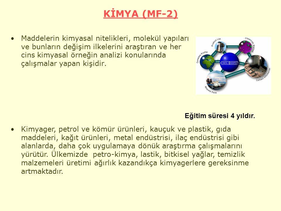 KİMYA (MF-2) Maddelerin kimyasal nitelikleri, molekül yapıları ve bunların değişim ilkelerini araştıran ve her cins kimyasal örneğin analizi konularında çalışmalar yapan kişidir.