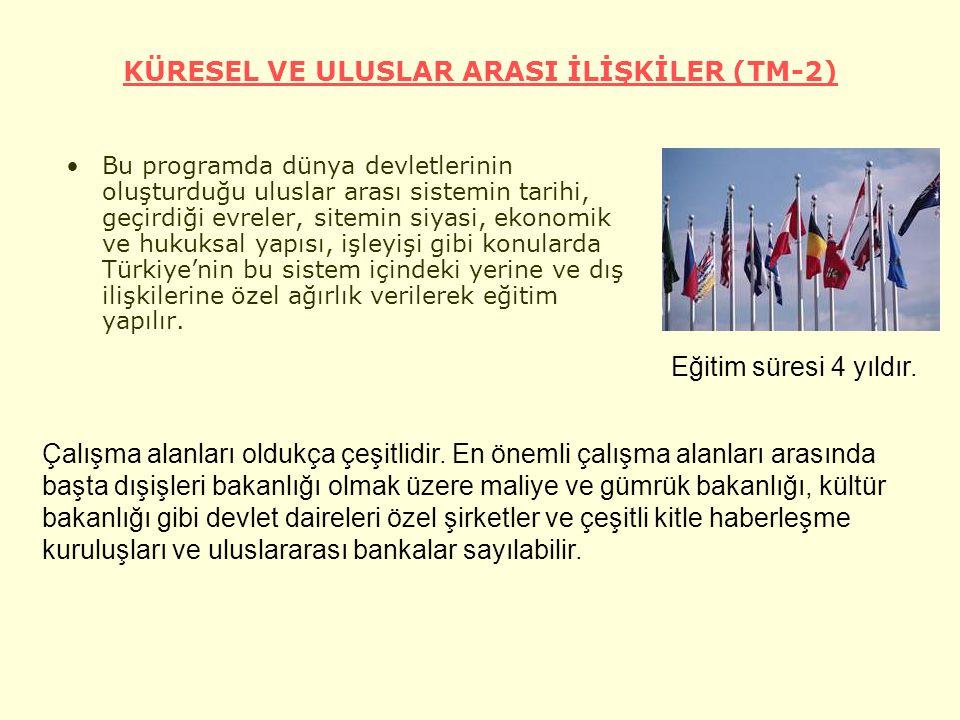 KÜRESEL VE ULUSLAR ARASI İLİŞKİLER (TM-2) Bu programda dünya devletlerinin oluşturduğu uluslar arası sistemin tarihi, geçirdiği evreler, sitemin siyasi, ekonomik ve hukuksal yapısı, işleyişi gibi konularda Türkiye'nin bu sistem içindeki yerine ve dış ilişkilerine özel ağırlık verilerek eğitim yapılır.