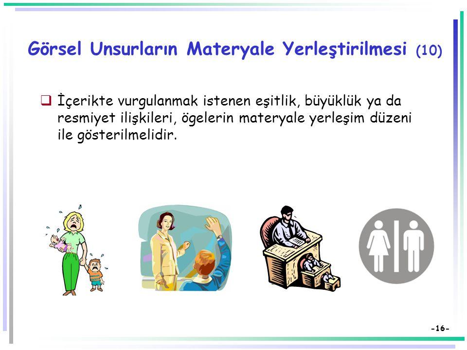 -15- Görsel Unsurların Materyale Yerleştirilmesi (8)  En önemli görsel öge sol üst köşeye ya da merkeze yerleştirilmeli ya da dikkati çekecek biçimde